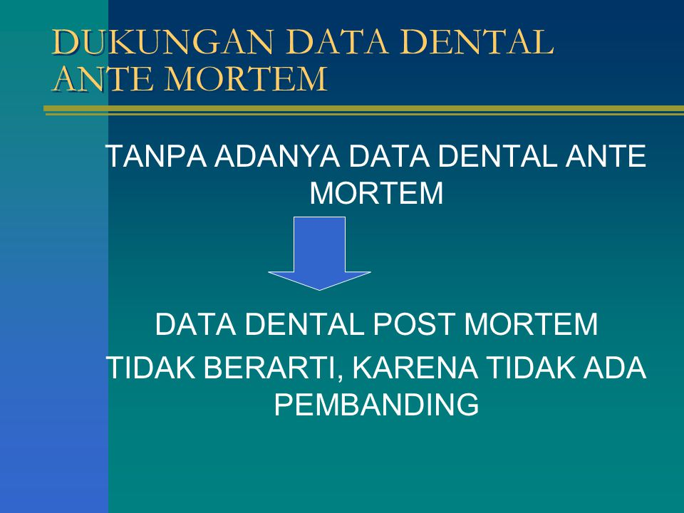 DUKUNGAN DATA DENTAL ANTE MORTEM