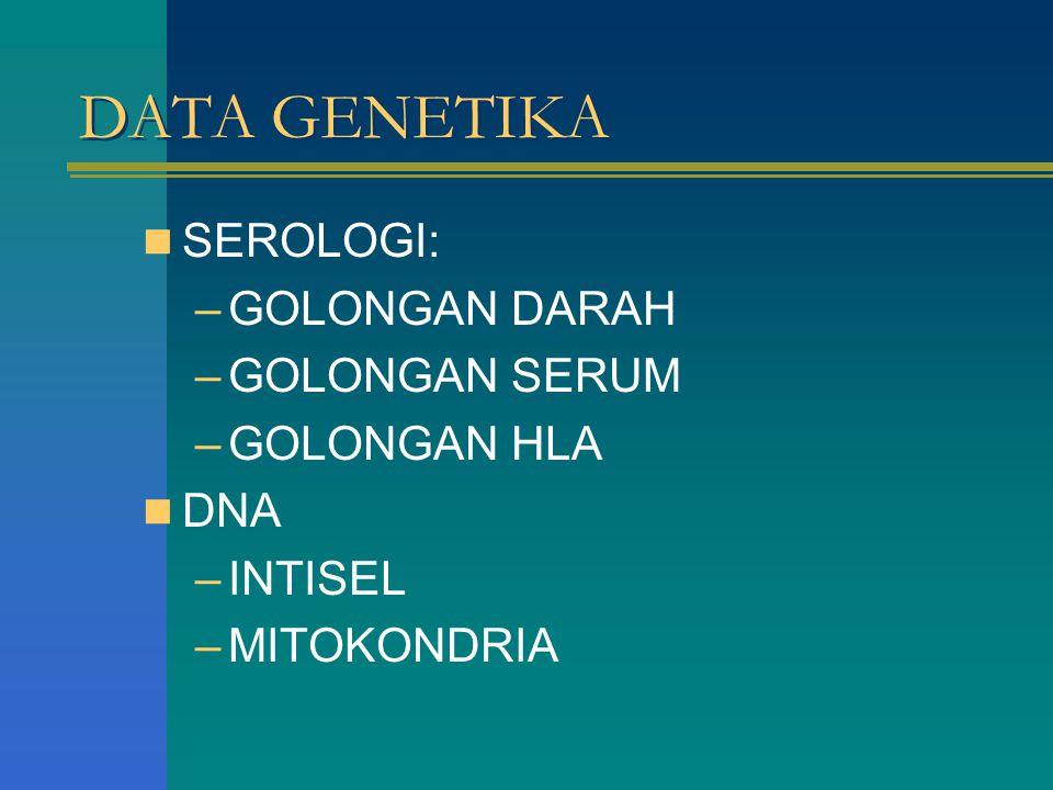 DATA GENETIKA SEROLOGI: GOLONGAN DARAH GOLONGAN SERUM GOLONGAN HLA DNA