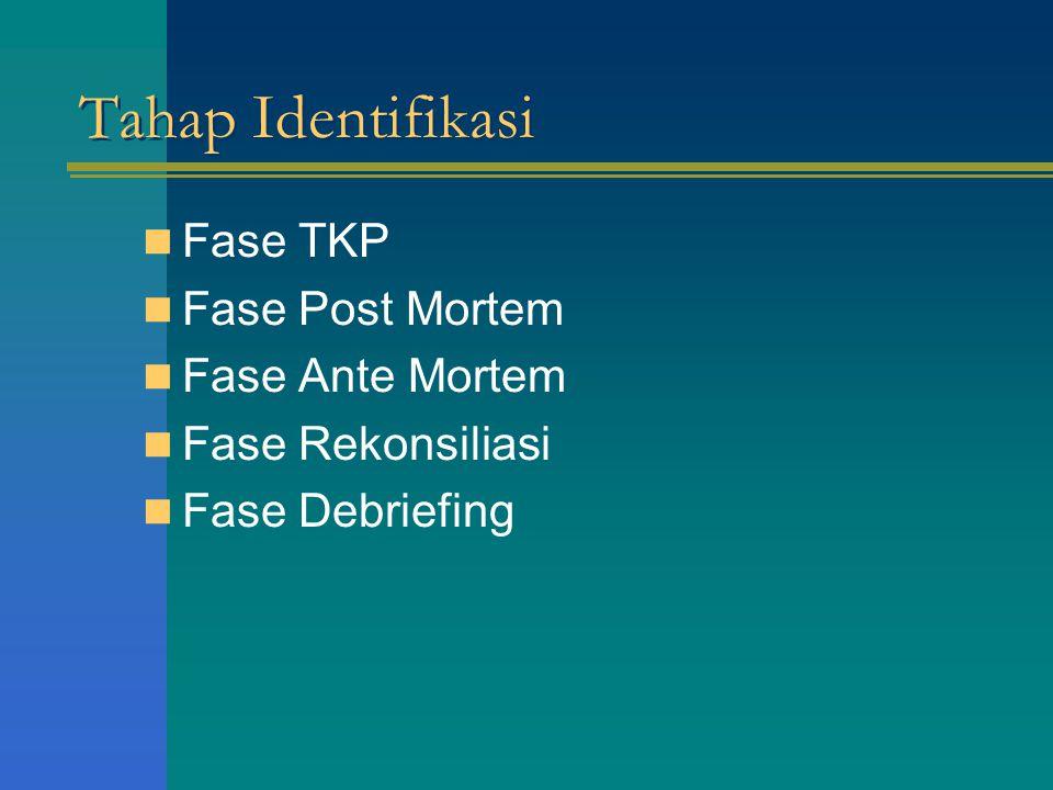 Tahap Identifikasi Fase TKP Fase Post Mortem Fase Ante Mortem