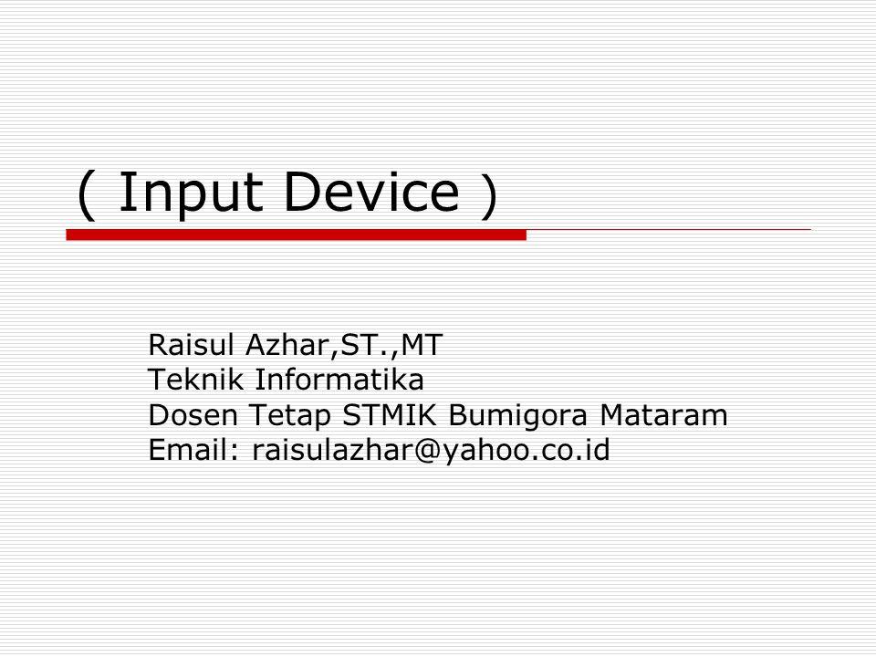 ( Input Device ) Raisul Azhar,ST.,MT Teknik Informatika