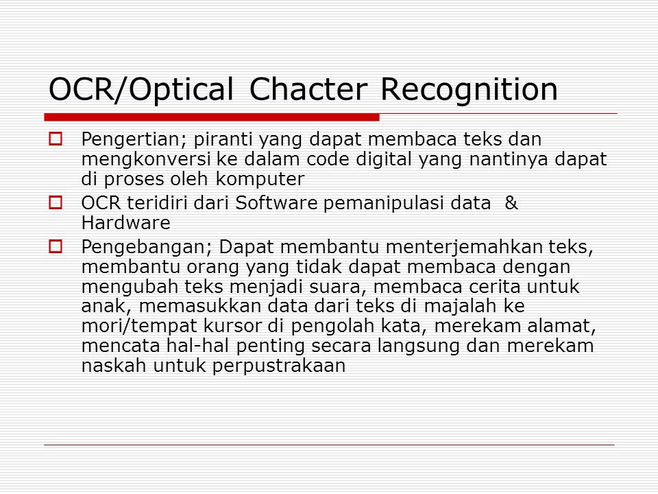 OCR/Optical Chacter Recognition