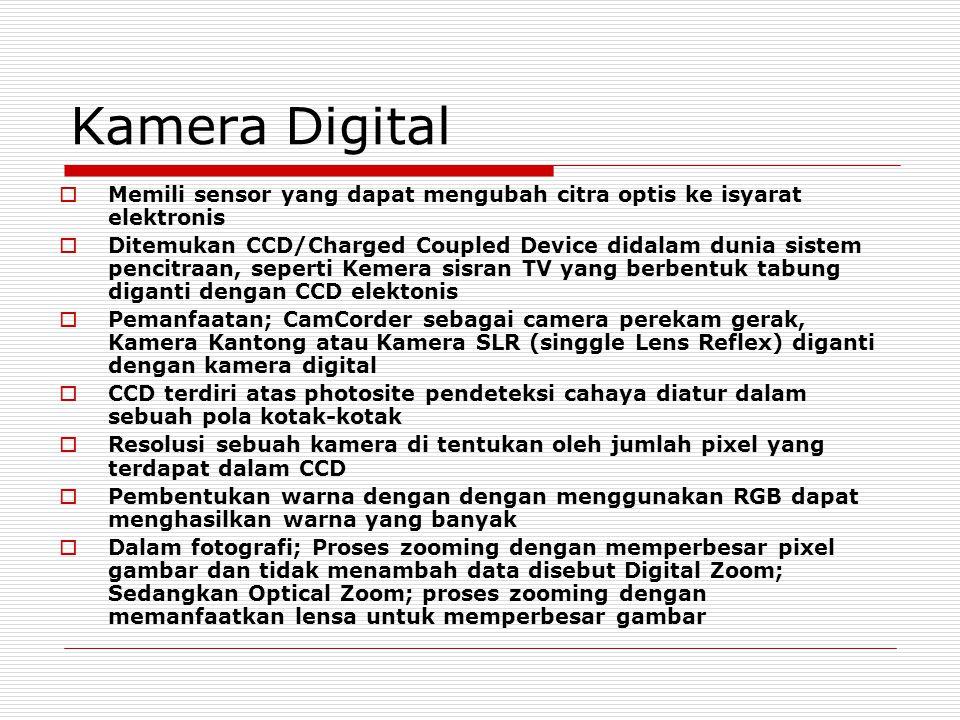 Kamera Digital Memili sensor yang dapat mengubah citra optis ke isyarat elektronis.