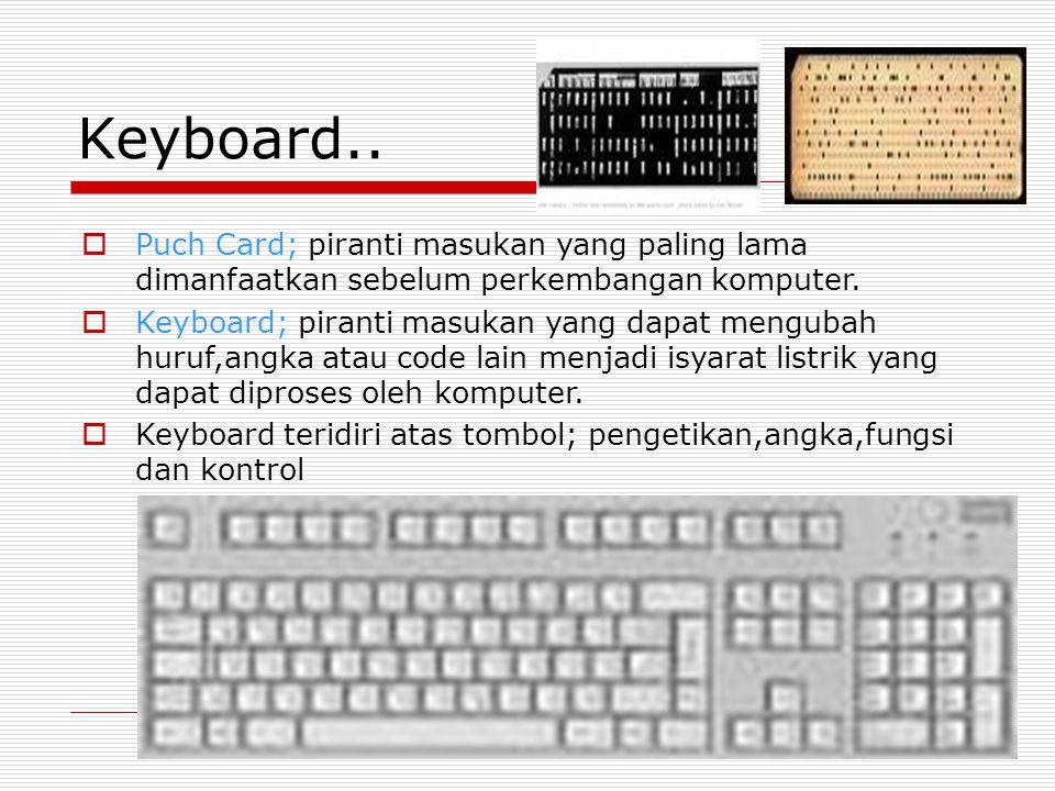 Keyboard.. Puch Card; piranti masukan yang paling lama dimanfaatkan sebelum perkembangan komputer.