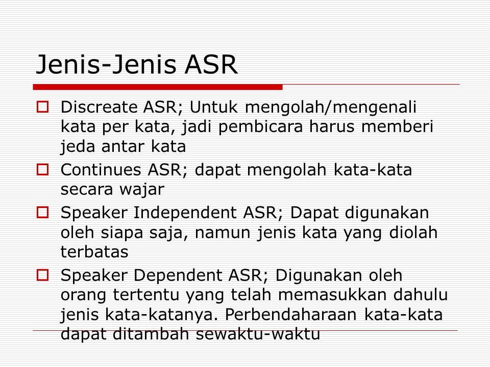 Jenis-Jenis ASR Discreate ASR; Untuk mengolah/mengenali kata per kata, jadi pembicara harus memberi jeda antar kata.