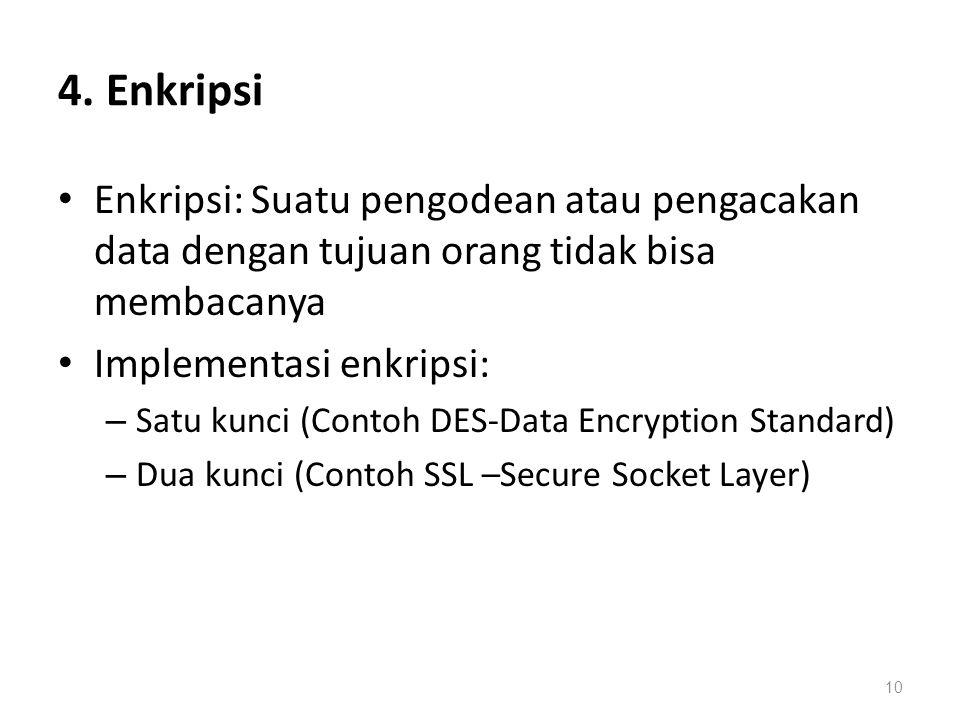 4. Enkripsi Enkripsi: Suatu pengodean atau pengacakan data dengan tujuan orang tidak bisa membacanya.