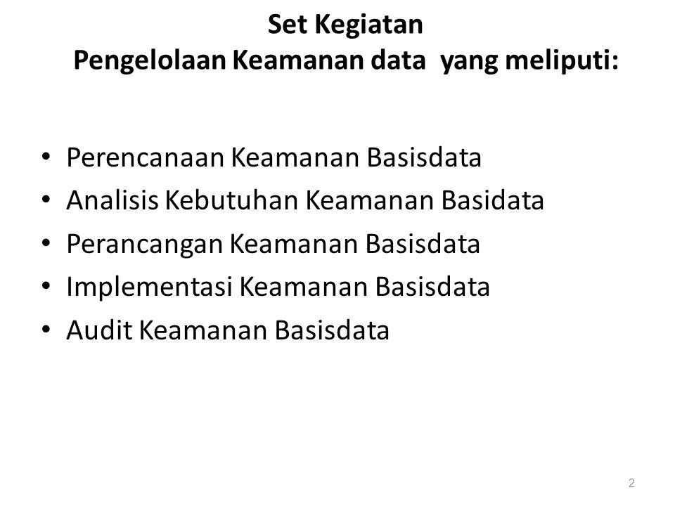 Set Kegiatan Pengelolaan Keamanan data yang meliputi: