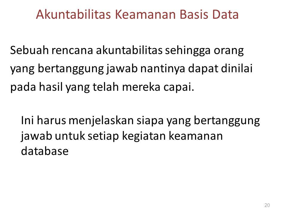 Akuntabilitas Keamanan Basis Data