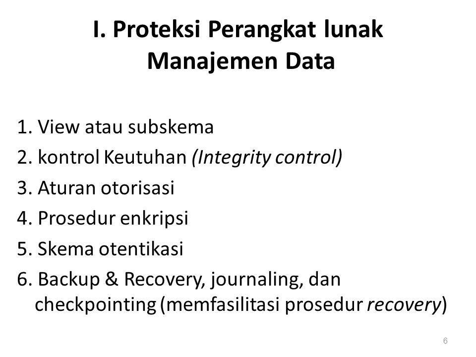 I. Proteksi Perangkat lunak Manajemen Data