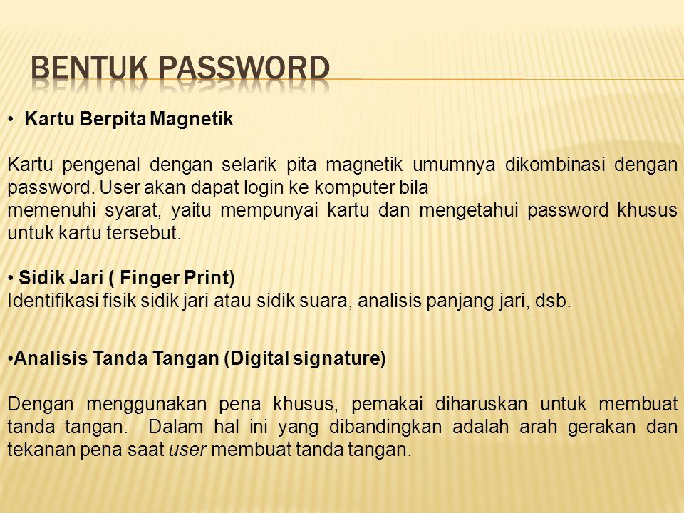 Bentuk password Kartu Berpita Magnetik