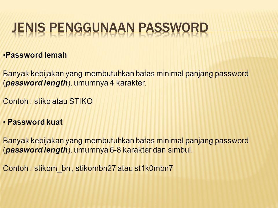 Jenis penggunaan password