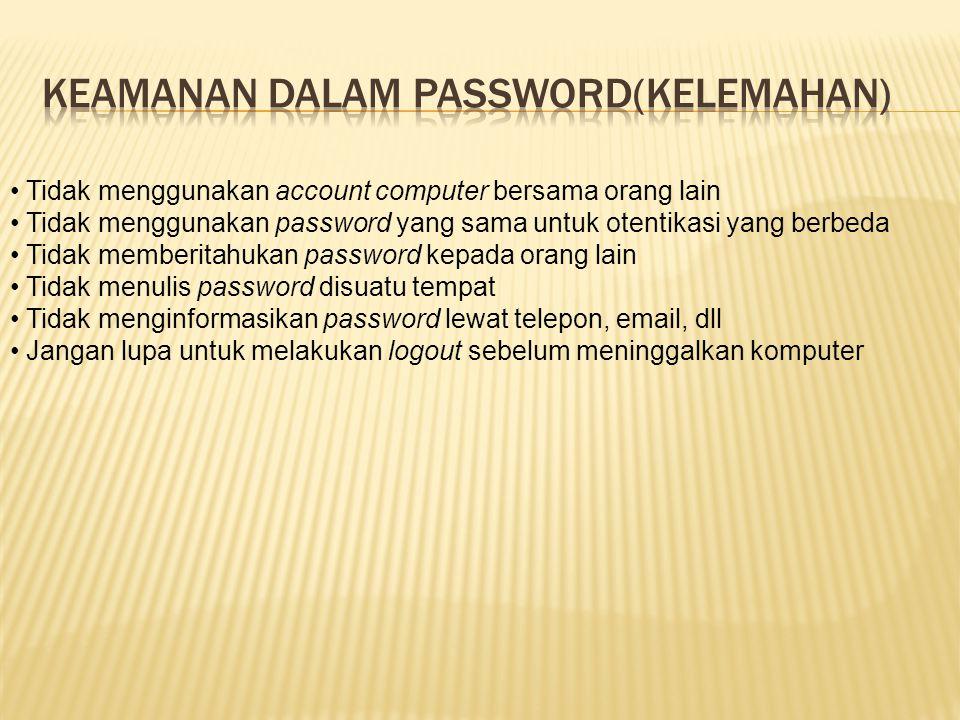 Keamanan dalam password(kelemahan)