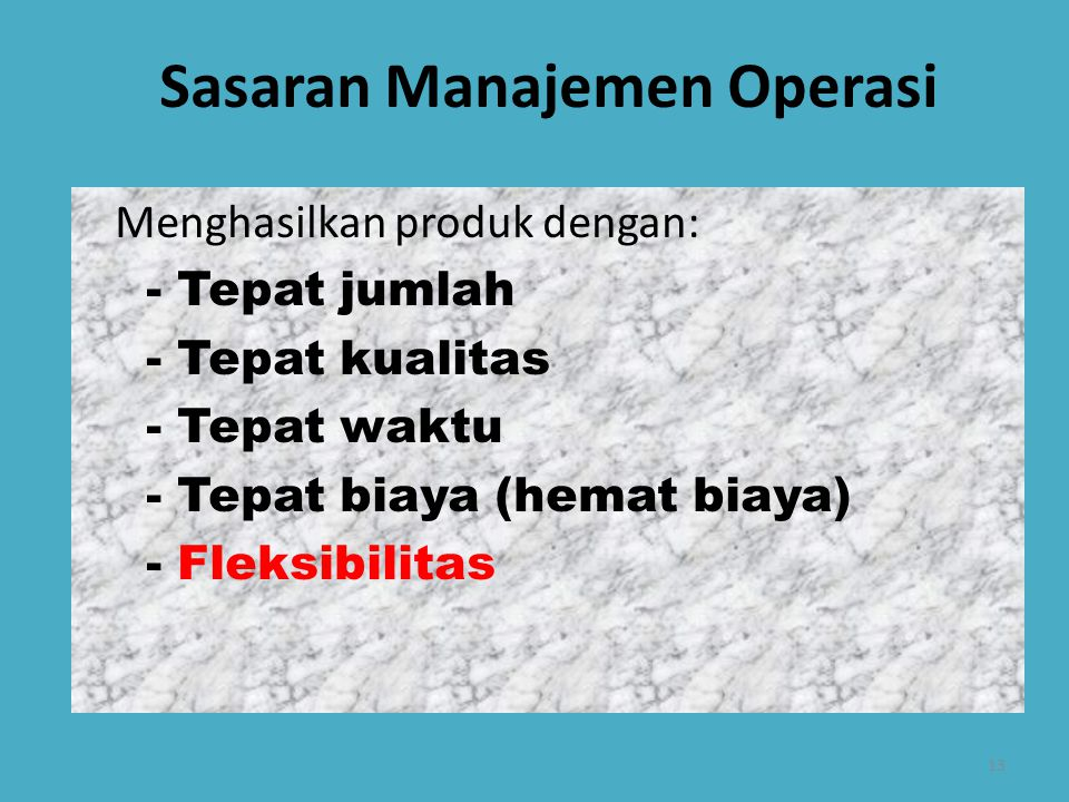 Sasaran Manajemen Operasi