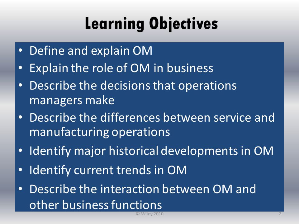 Learning Objectives Define and explain OM