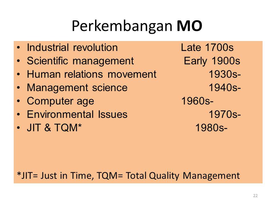 Perkembangan MO Industrial revolution Late 1700s