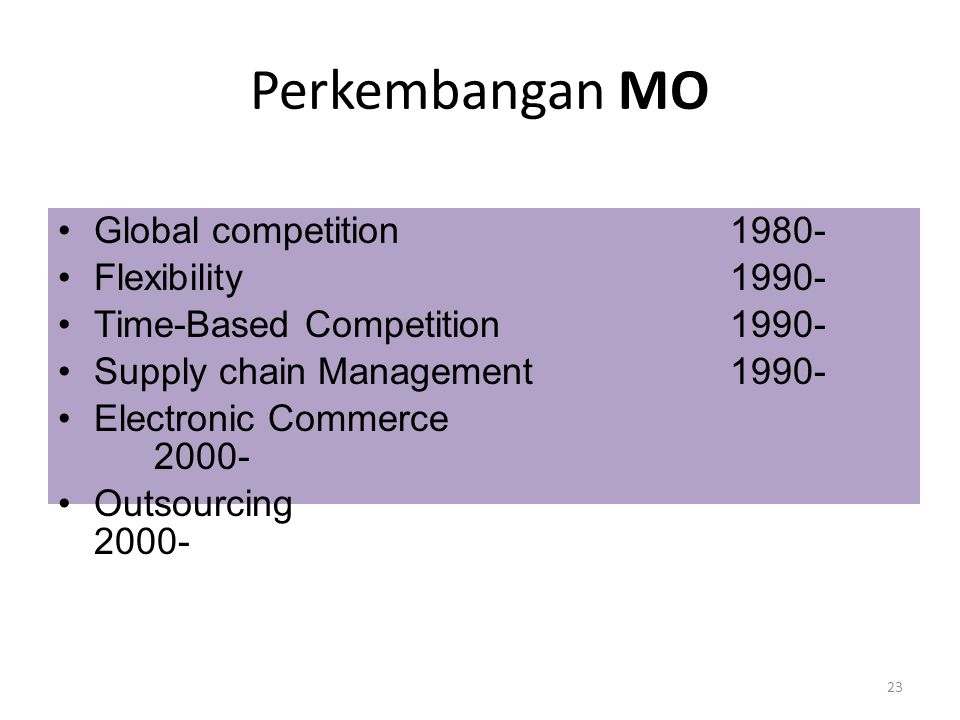 Perkembangan MO Global competition 1980- Flexibility 1990-
