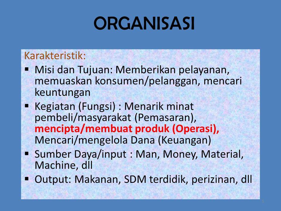 ORGANISASI Karakteristik: