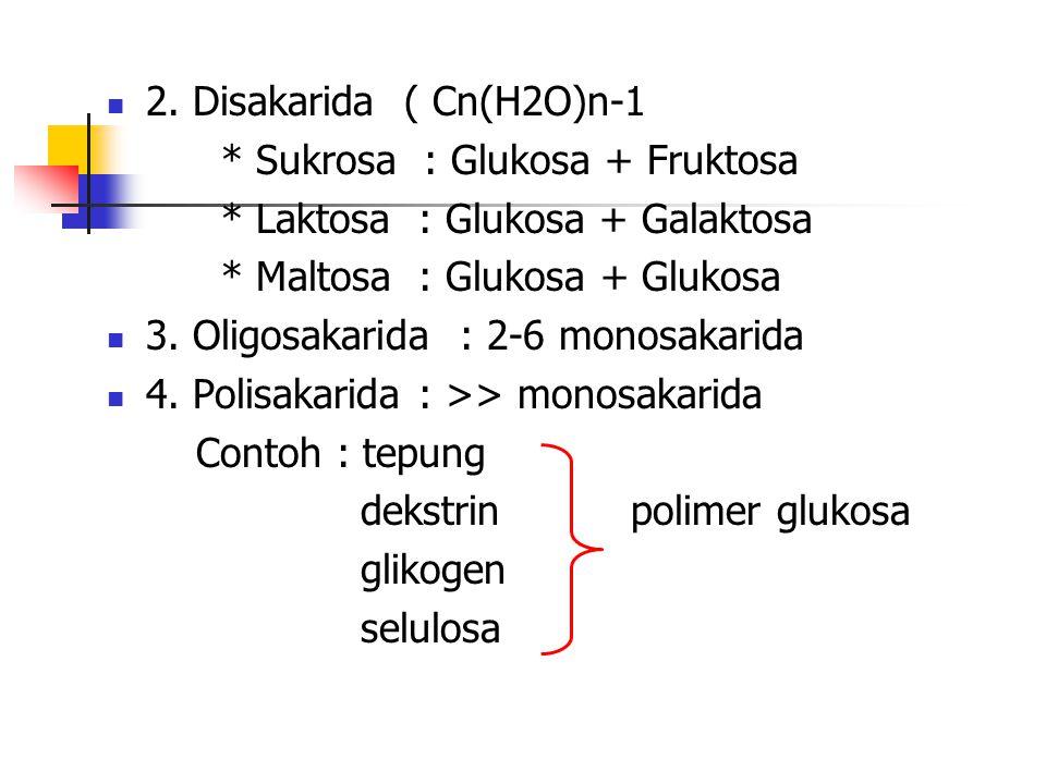 2. Disakarida ( Cn(H2O)n-1 * Sukrosa : Glukosa + Fruktosa. * Laktosa : Glukosa + Galaktosa. * Maltosa : Glukosa + Glukosa.