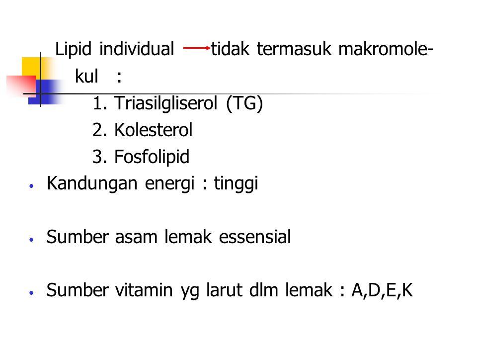 Lipid individual tidak termasuk makromole-