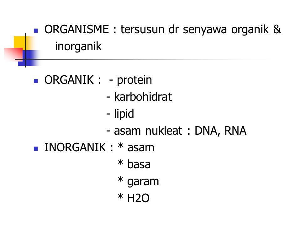 ORGANISME : tersusun dr senyawa organik &