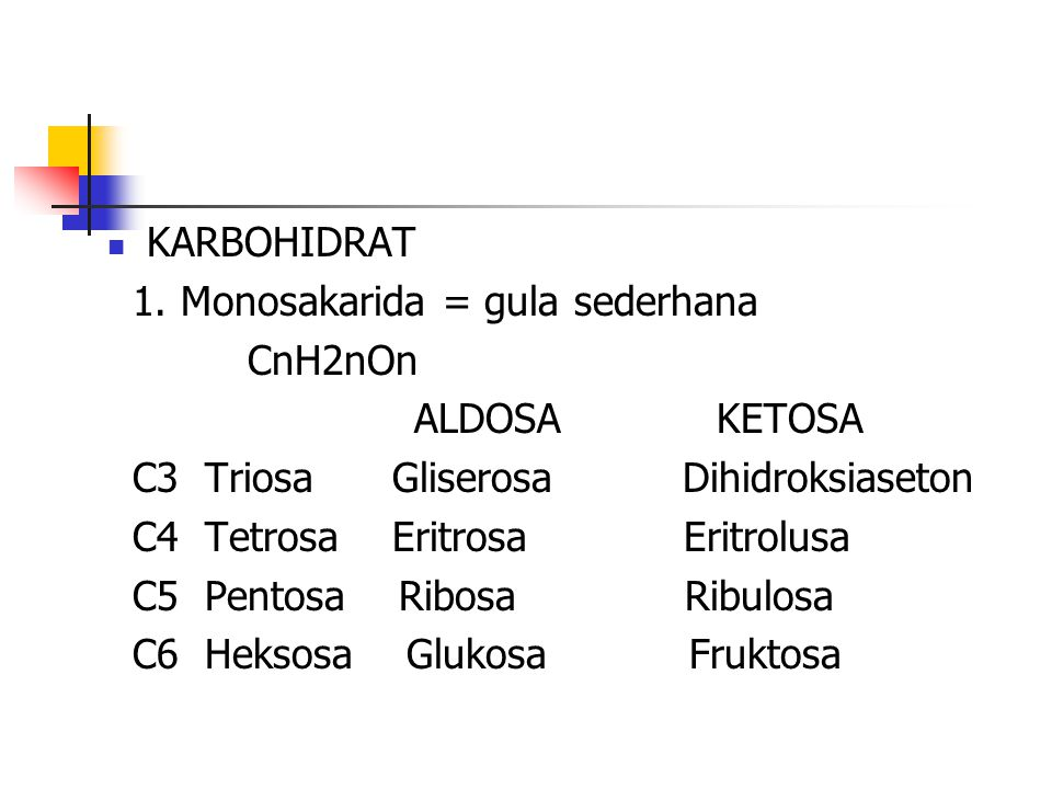 KARBOHIDRAT 1. Monosakarida = gula sederhana. CnH2nOn. ALDOSA KETOSA. C3 Triosa Gliserosa Dihidroksiaseton.