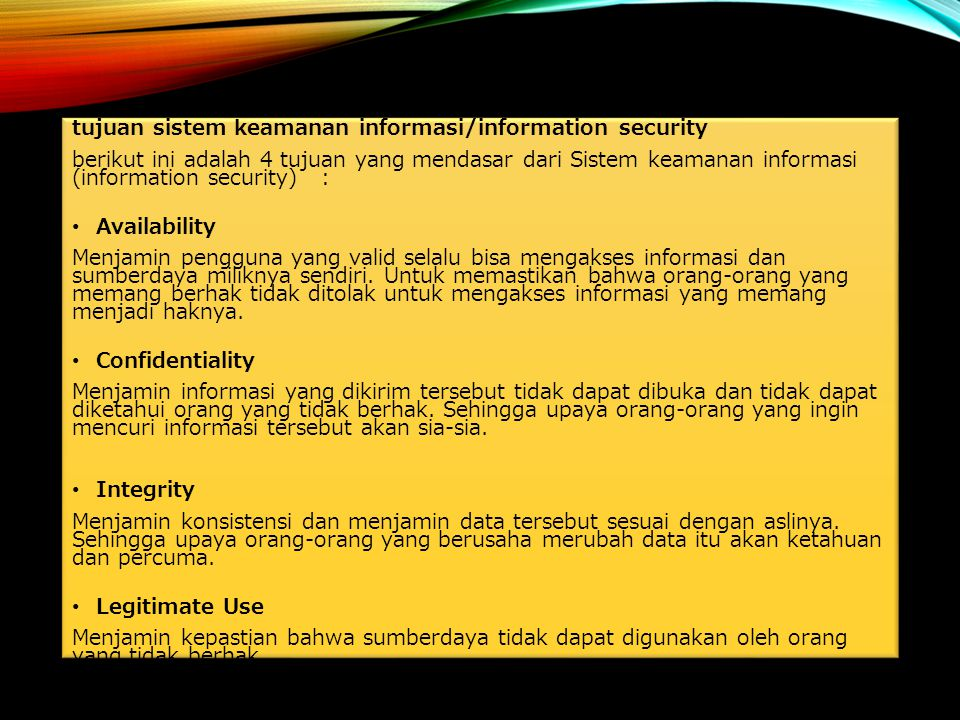 tujuan sistem keamanan informasi/information security