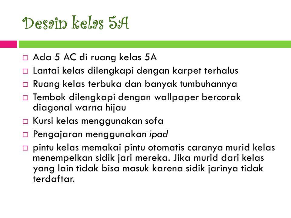 Desain kelas 5A Ada 5 AC di ruang kelas 5A