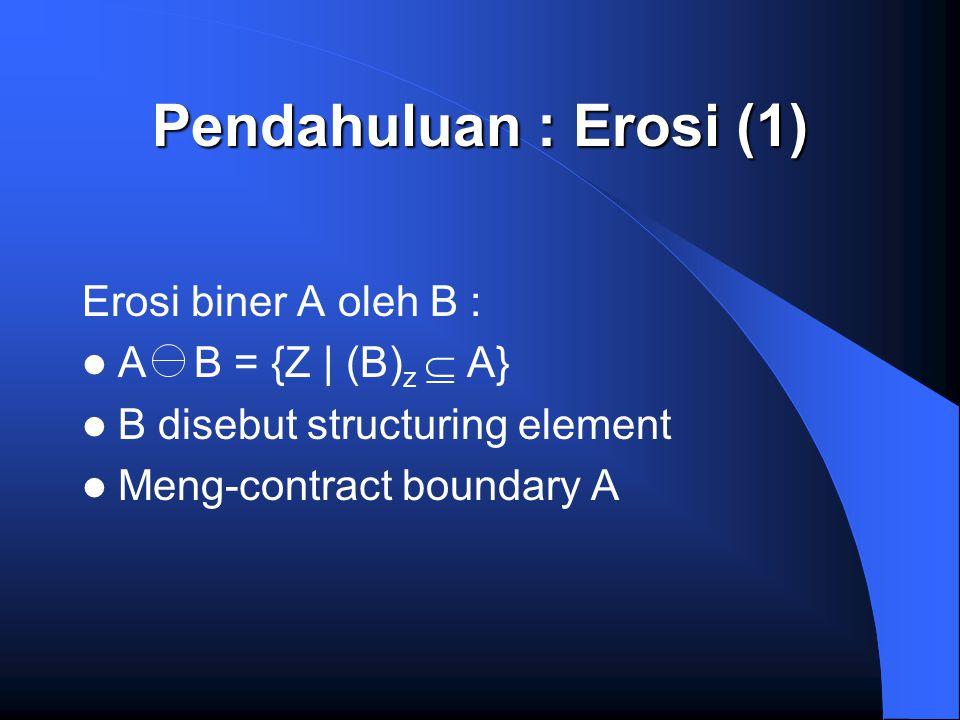 Pendahuluan : Erosi (1) Erosi biner A oleh B : A B = {Z | (B)z  A}