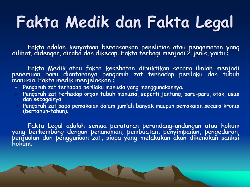 Fakta Medik dan Fakta Legal