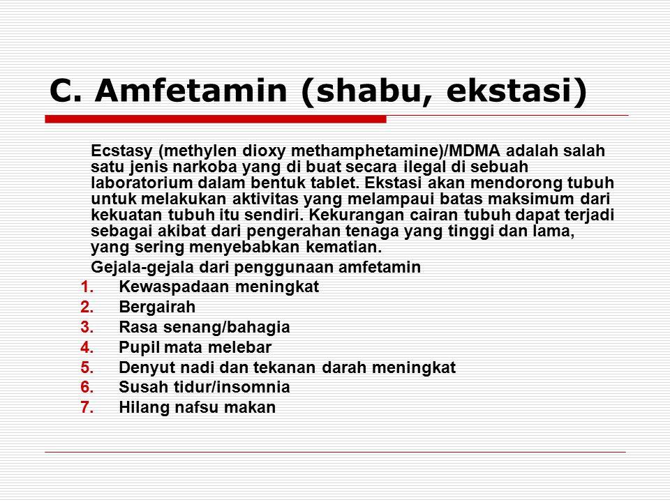 C. Amfetamin (shabu, ekstasi)