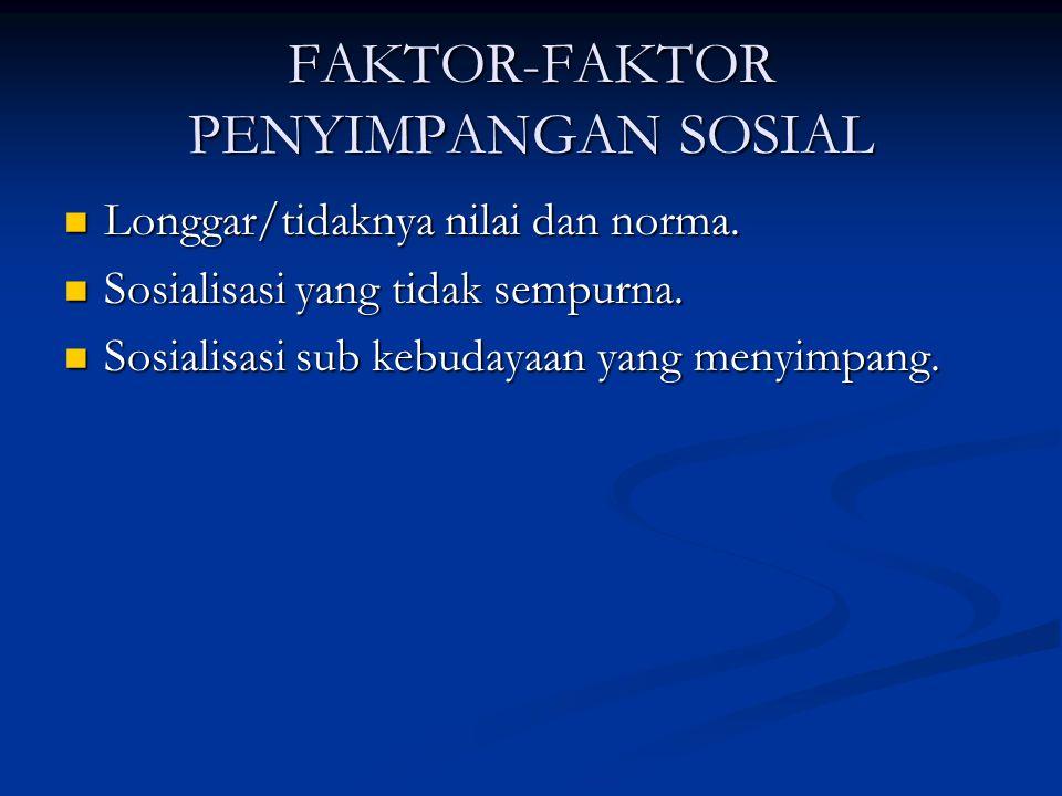 FAKTOR-FAKTOR PENYIMPANGAN SOSIAL