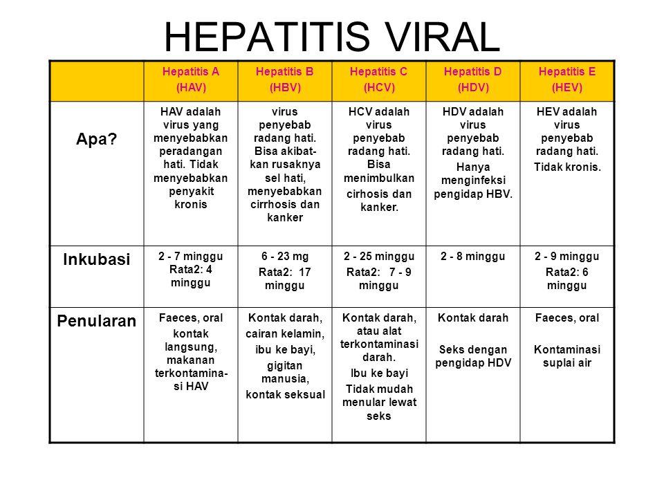 HEPATITIS VIRAL Apa Inkubasi Penularan Hepatitis A (HAV) Hepatitis B