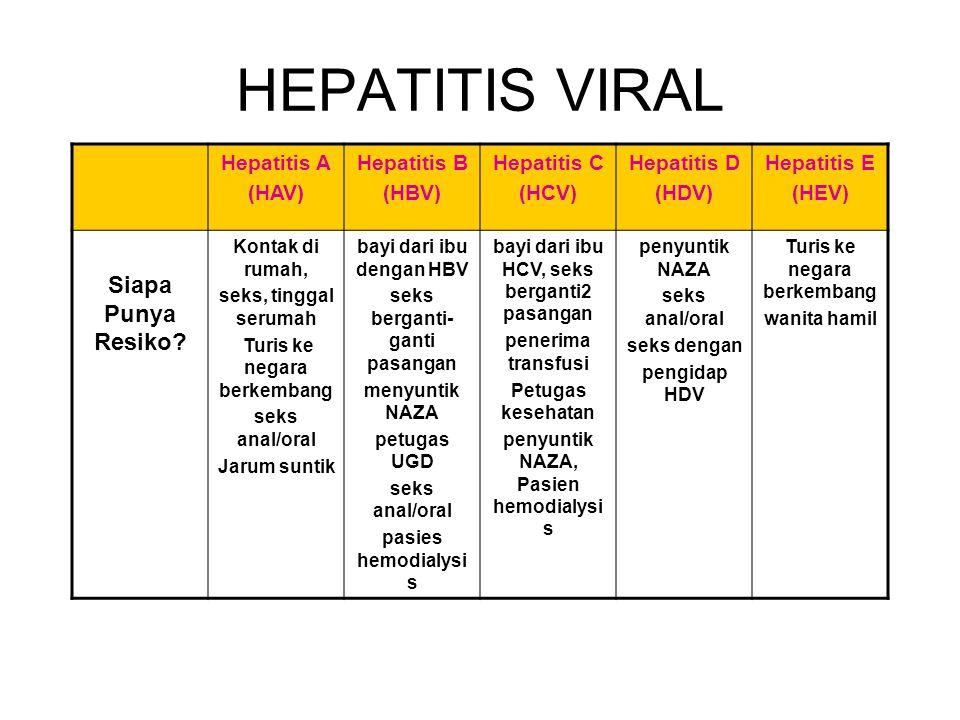 HEPATITIS VIRAL Siapa Punya Resiko Hepatitis A (HAV) Hepatitis B
