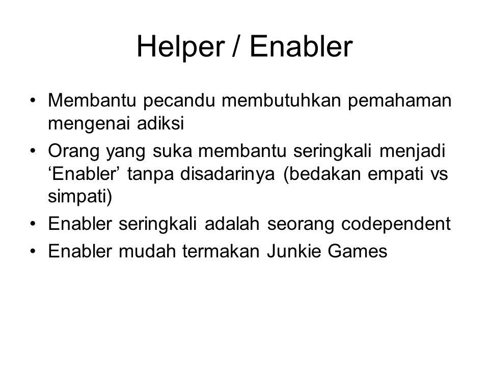 Helper / Enabler Membantu pecandu membutuhkan pemahaman mengenai adiksi.