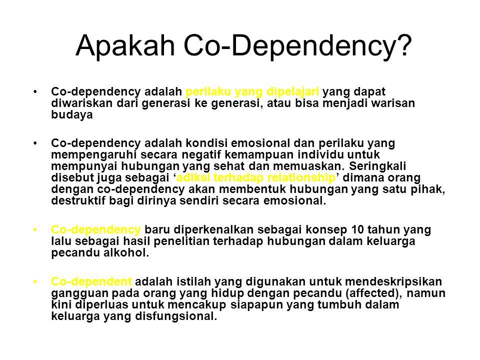 Apakah Co-Dependency Co-dependency adalah perilaku yang dipelajari yang dapat diwariskan dari generasi ke generasi, atau bisa menjadi warisan budaya.