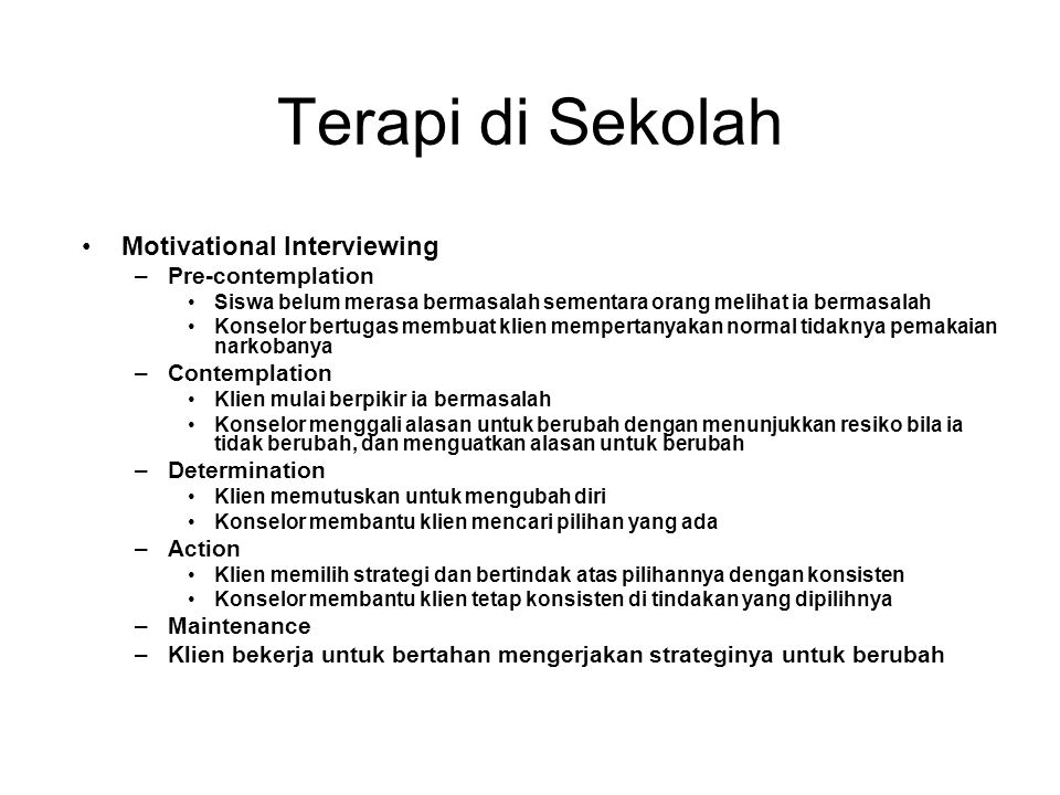 Terapi di Sekolah Motivational Interviewing Pre-contemplation