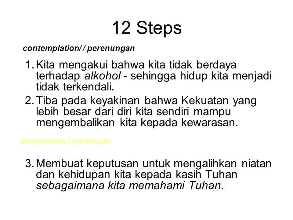 12 Steps contemplation/ / perenungan. 1. Kita mengakui bahwa kita tidak berdaya terhadap alkohol - sehingga hidup kita menjadi tidak terkendali.