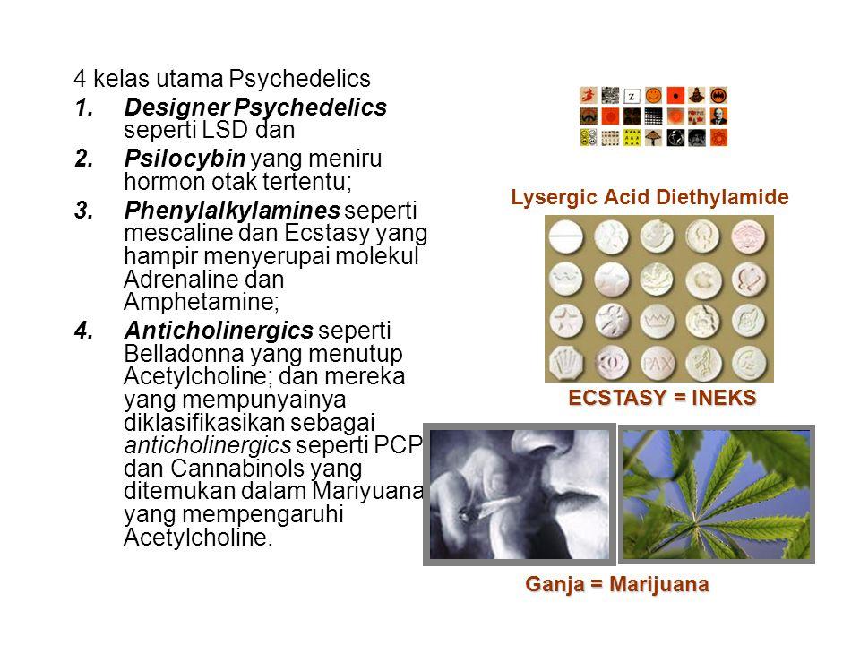 4 kelas utama Psychedelics Designer Psychedelics seperti LSD dan