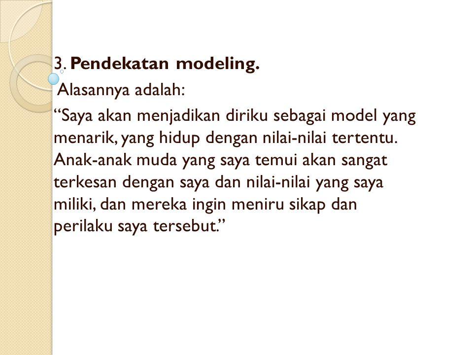 3. Pendekatan modeling. Alasannya adalah: