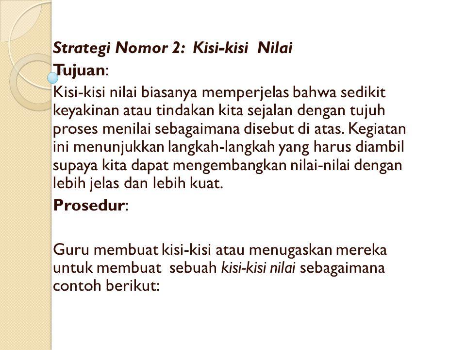 Strategi Nomor 2: Kisi-kisi Nilai