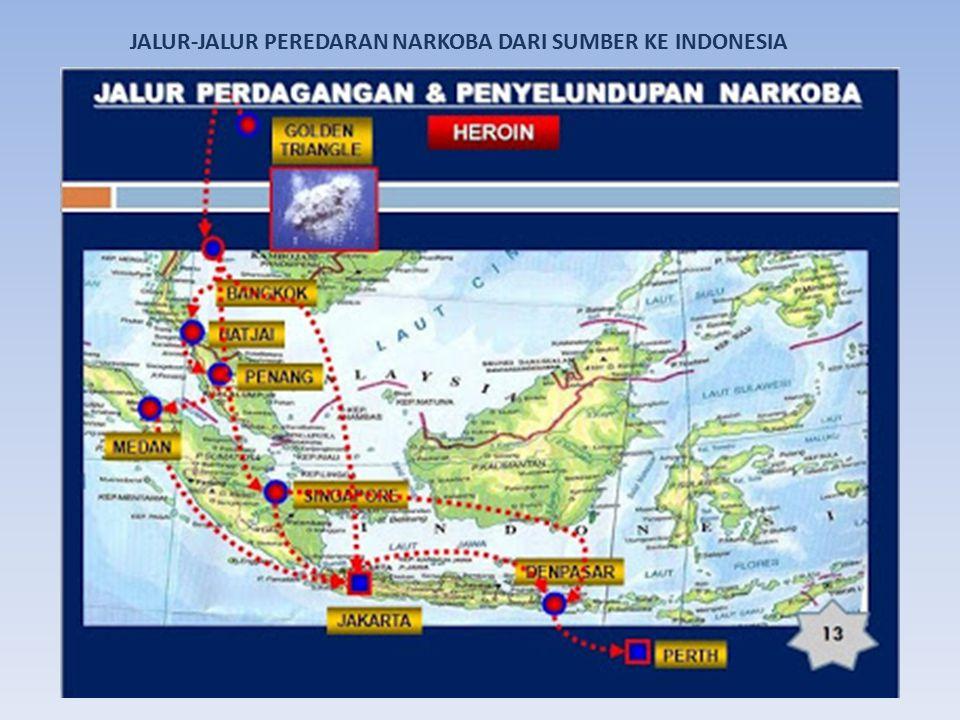 JALUR-JALUR PEREDARAN NARKOBA DARI SUMBER KE INDONESIA