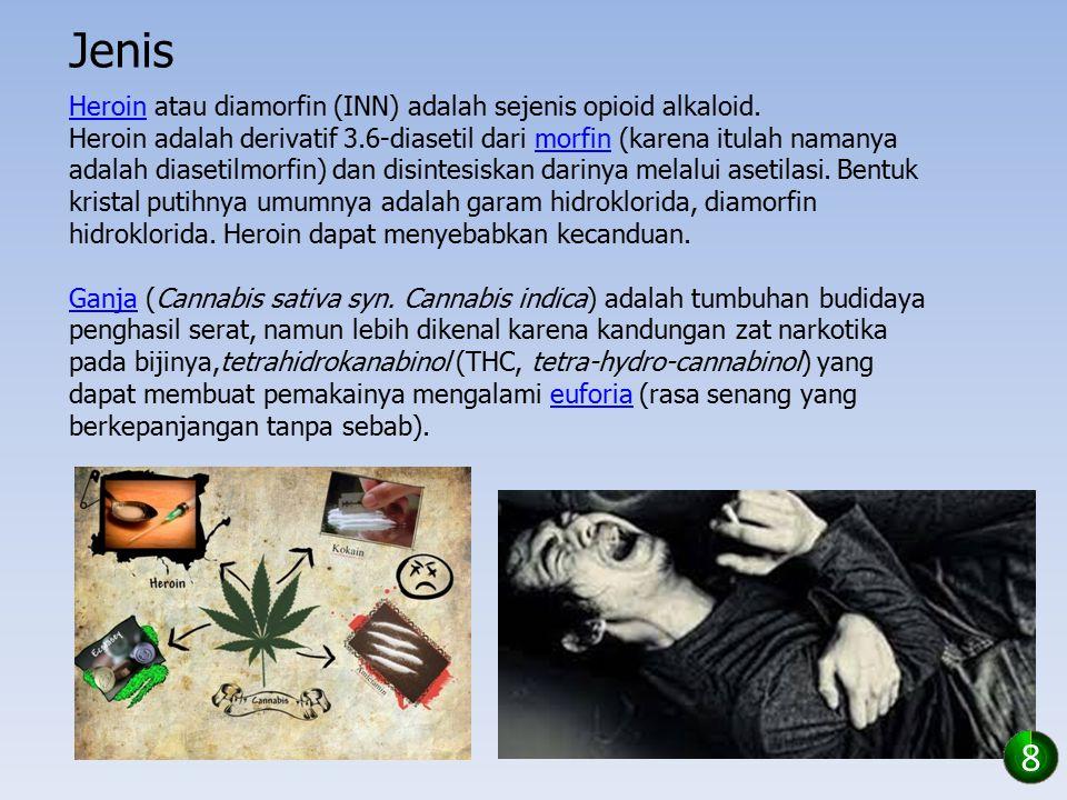Jenis 8 Heroin atau diamorfin (INN) adalah sejenis opioid alkaloid.
