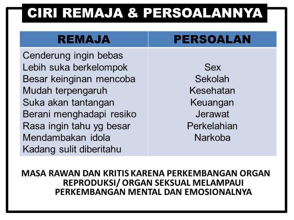 CIRI REMAJA & PERSOALANNYA