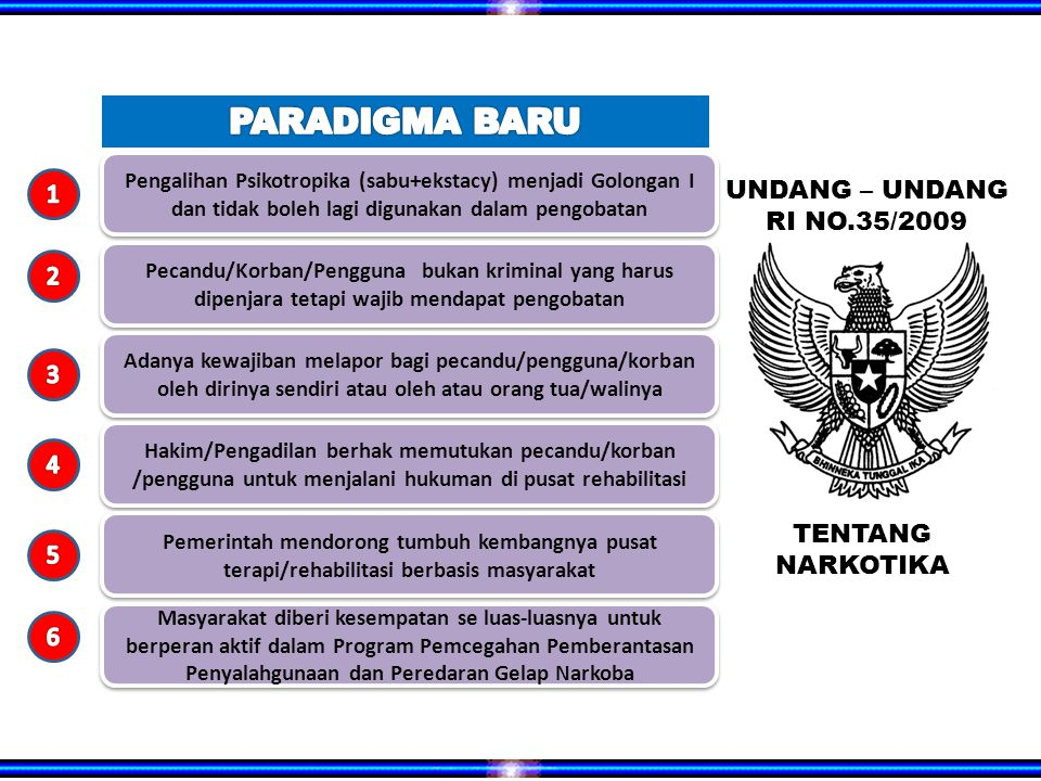 PARADIGMA BARU 1 UNDANG – UNDANG RI NO.35/2009 2 3 4 TENTANG 5