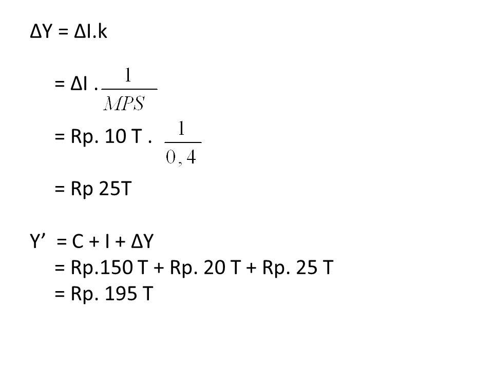 ΔY = ΔI. k. = ΔI. = Rp. 10 T. = Rp 25T Y' = C + I + ΔY. = Rp