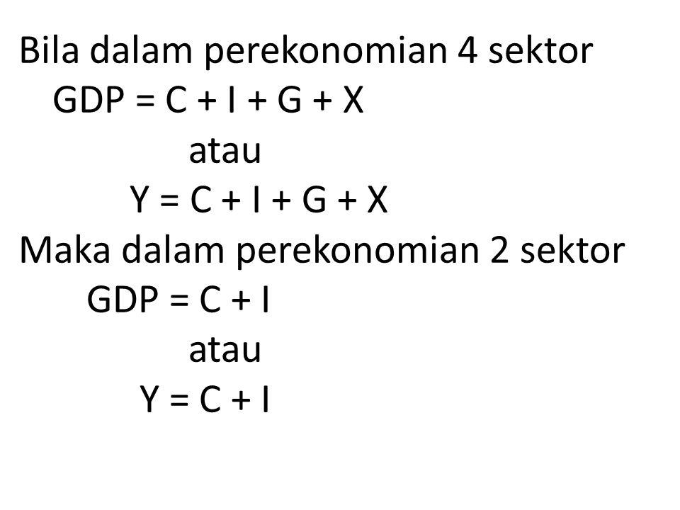 Bila dalam perekonomian 4 sektor. GDP = C + I + G + X. atau