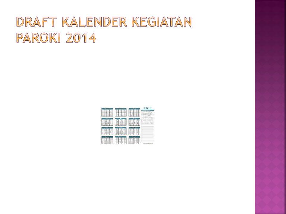 DRAFT KALENDER KEGIATAN PAROKI 2014