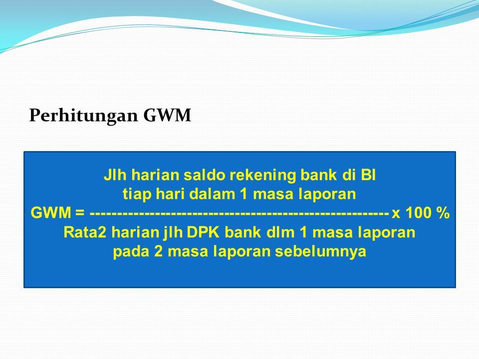 Perhitungan GWM Jlh harian saldo rekening bank di BI