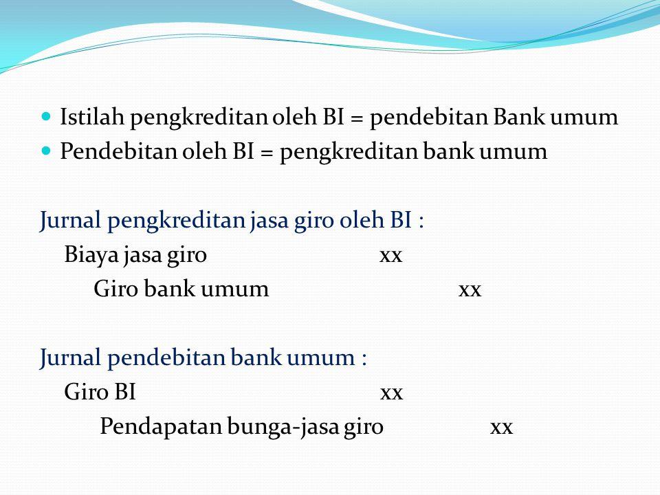 Istilah pengkreditan oleh BI = pendebitan Bank umum