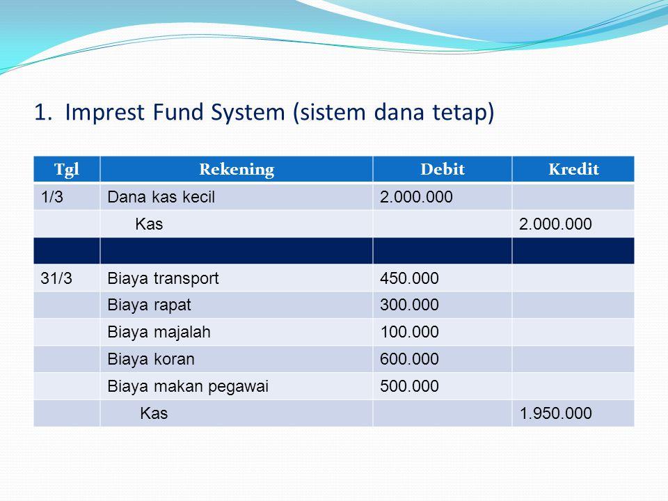 1. Imprest Fund System (sistem dana tetap)
