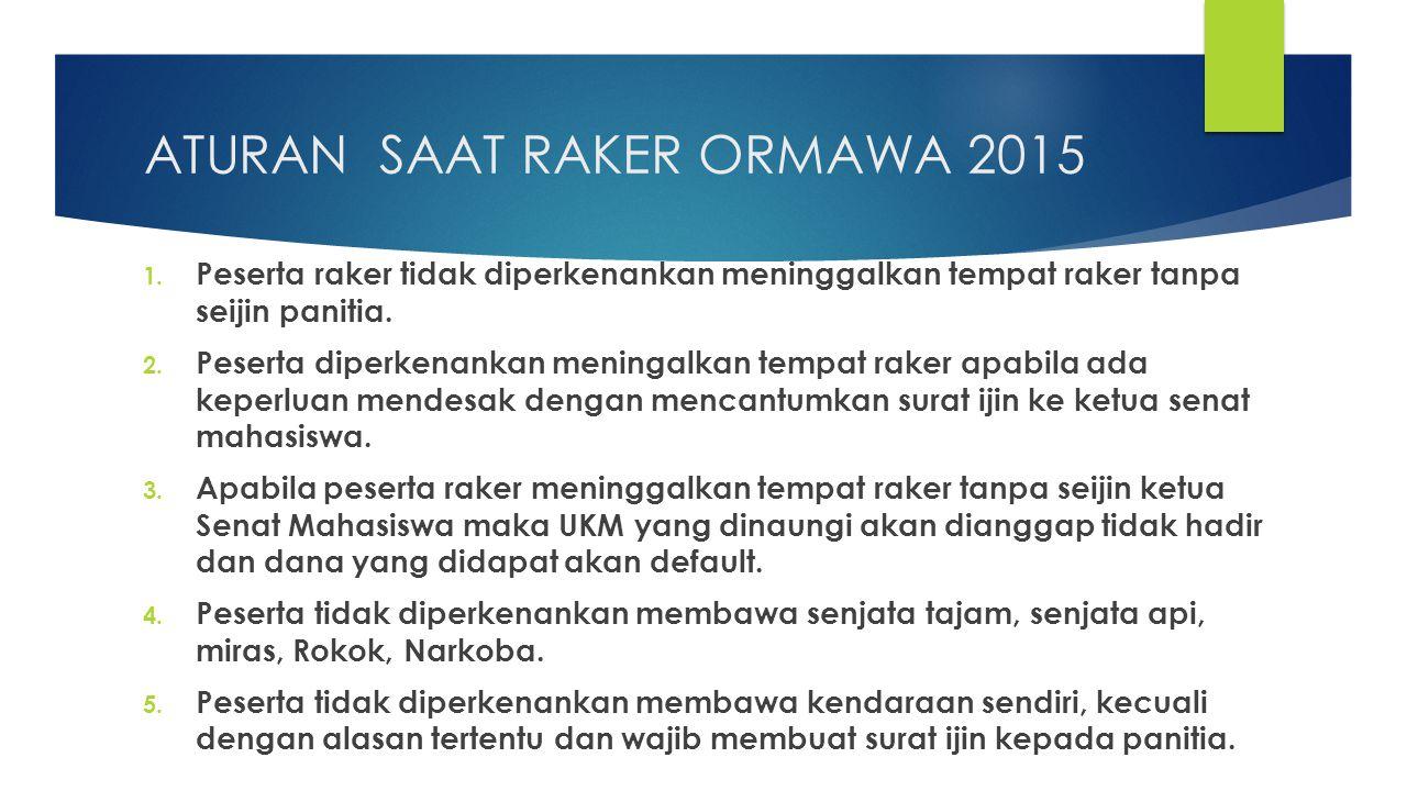ATURAN SAAT RAKER ORMAWA 2015